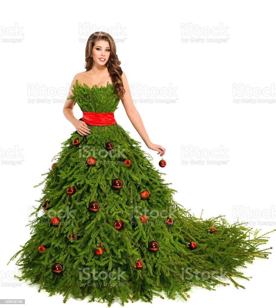 Christmas Tree Woman Dress, Fashion Model New Year Girl, White stock photo