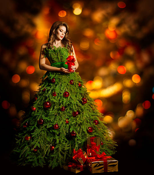 Christmas Model.Best Woman Christmas Tree Dress Fashion Model In Xmas Gown