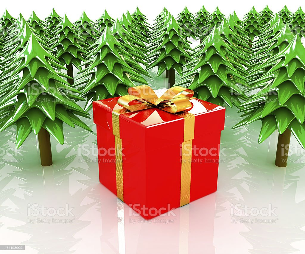 Christmas trees and gift royalty-free stock photo