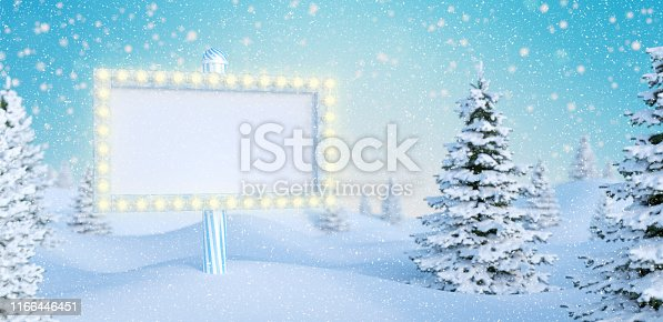 614958148 istock photo Christmas trees and shiny billboard copy space outdoors falling snow 3d render 1166446451