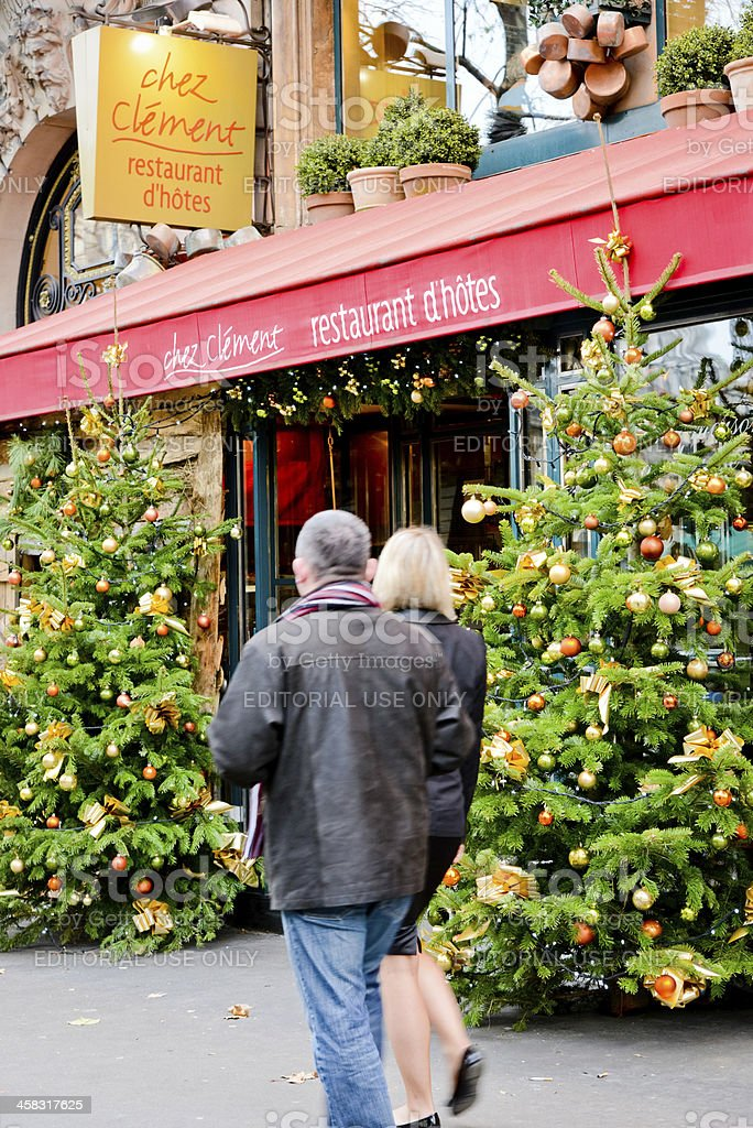 Christmas trees at the entrance of Paris Restaurant royalty-free stock photo