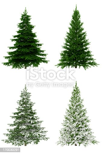 Christmas trees set isolated on white background for fast selection and use, 3D render.
