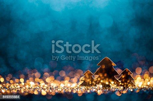 istock Christmas Trees - Defocused Decoration Gold Blue Bokeh 849355664