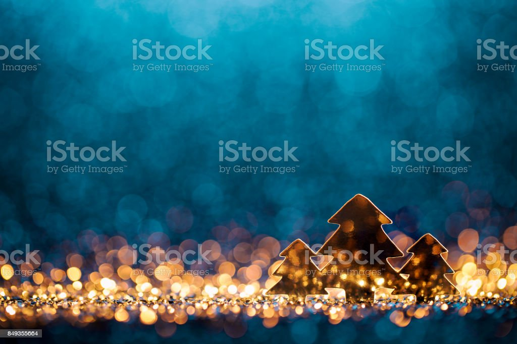 Christmas Trees - Defocused Decoration Gold Blue Bokeh stock photo