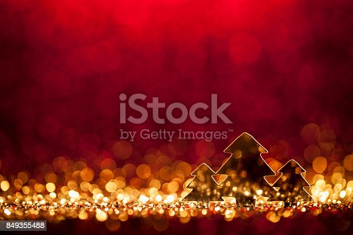 istock Christmas Trees - Defocused Decoration Gold Red Bokeh 849355488