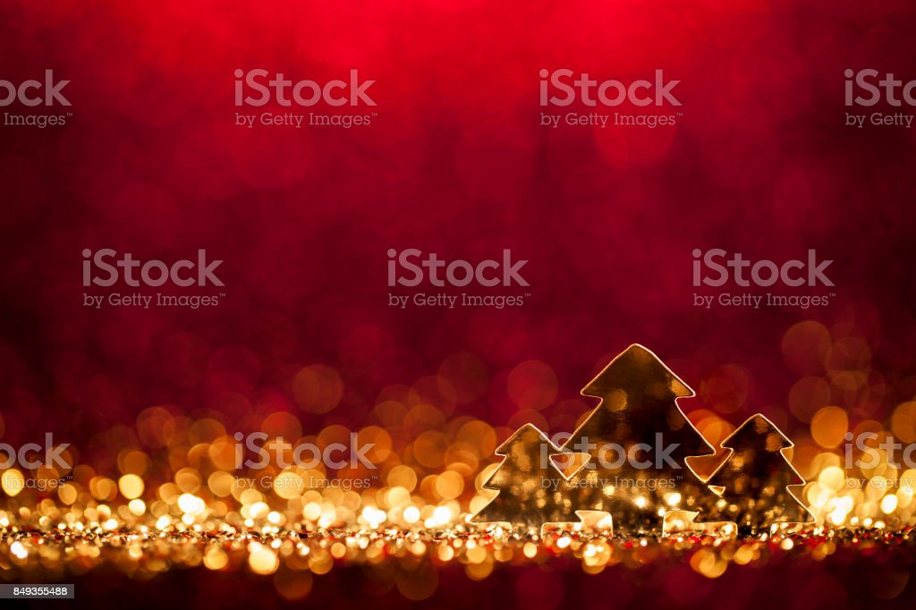 Christmas Trees - Defocused Decoration Gold Red Bokeh stock photo