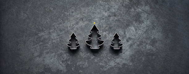 Christmas Trees - Holiday Blackboard Metal Gold Glitter stock photo