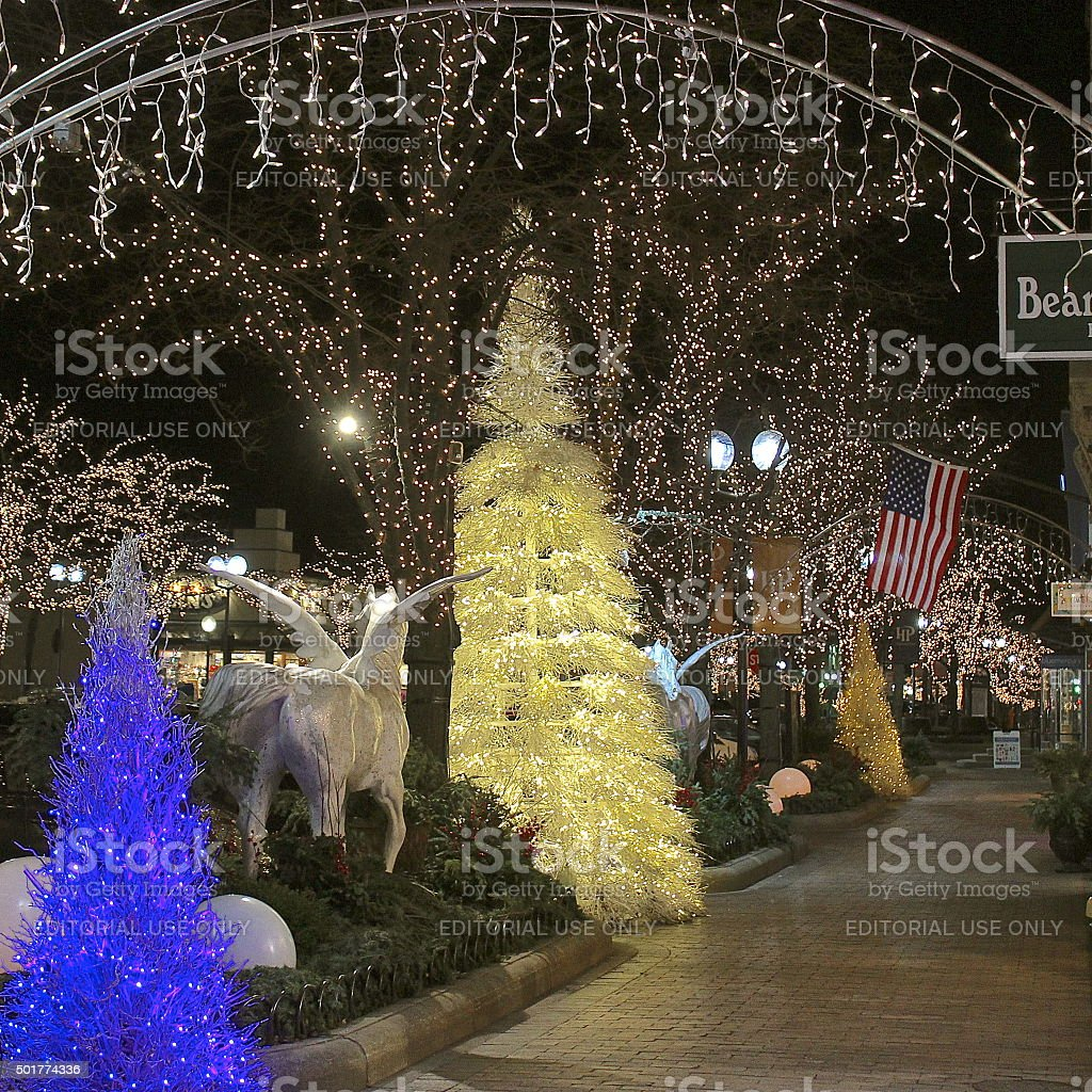 Christmas trees, holiday lights and decorations downtown stock photo