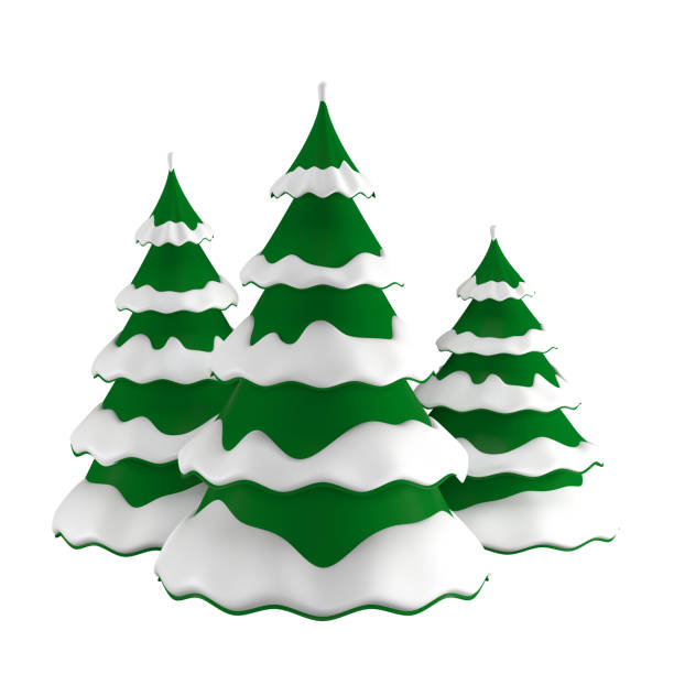 Christmas trees in the snow stock photo