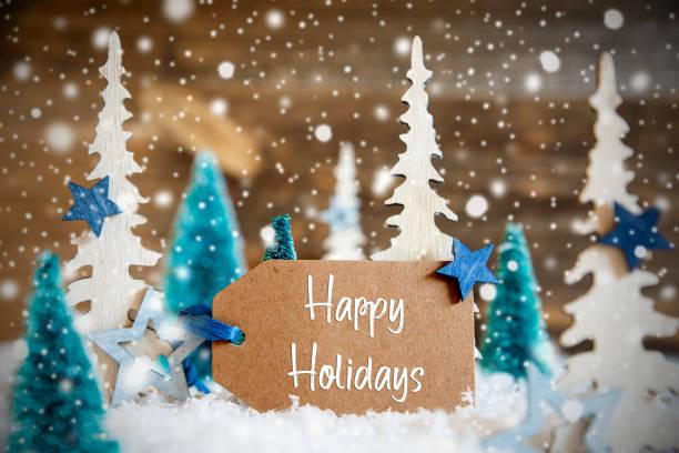 聖誕樹, 雪花, 木製背景, 標籤, 文字快樂假期。 - happy holidays 個照片及圖片檔