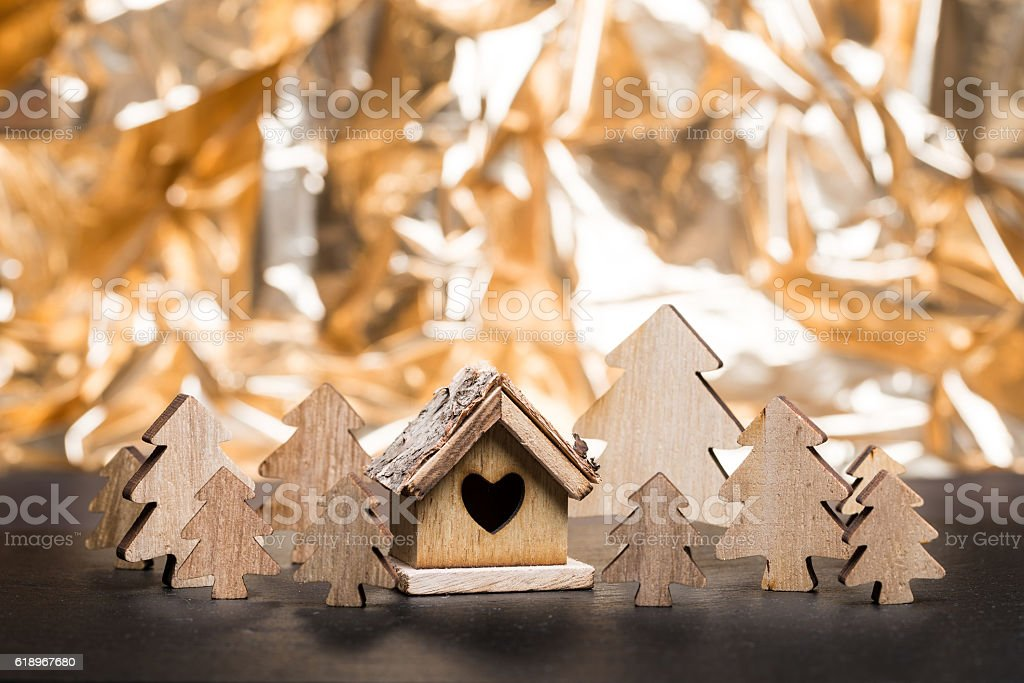Christmas trees with wooden hut stock photo