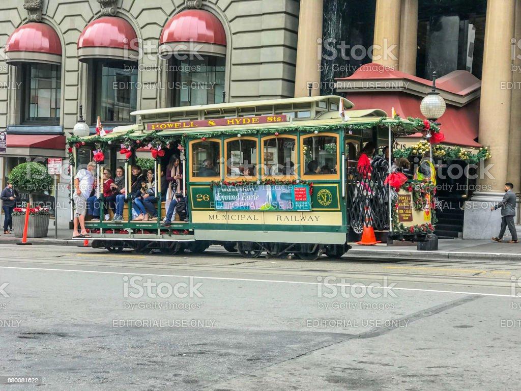 Christmas Trolley stock photo