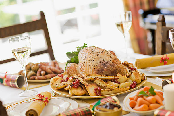 Traditional English Christmas Dinner.Best Traditional English Christmas Dinner Stock Photos