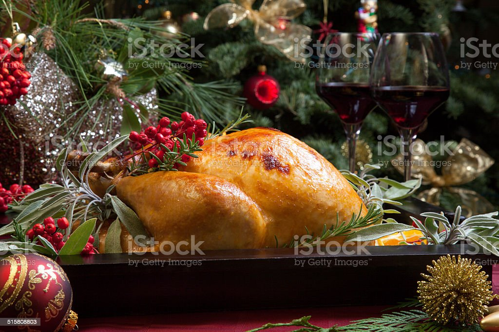 Christmas Turkey In Wooden Tray stock photo