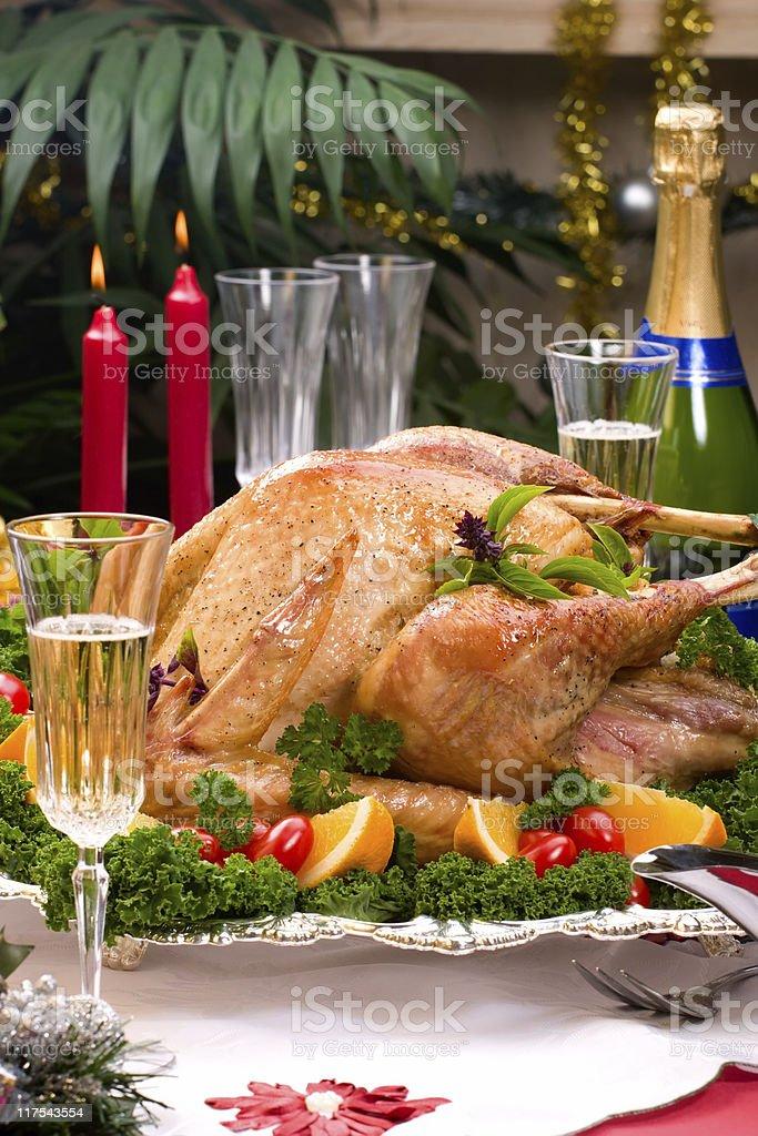 Christmas turkey on holiday table royalty-free stock photo