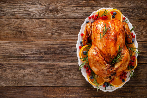 Christmas turkey. Traditional festive food for Christmas or Thanksgiving stock photo