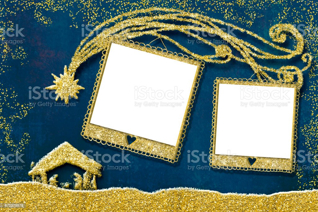 Christmas two photo frames card stock photo more pictures of