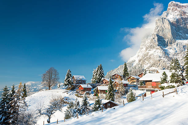 Christmas vacation in Europe. Travel to Switzerland in the winter. Alpine Village in the snow. Traditional houses with red shutters and roofs. switzerland stock pictures, royalty-free photos & images