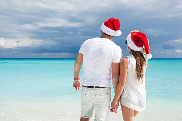Christmas Vacation In Mexico.Best Couple Christmas Vacation In Tropical Beach Of Cancun