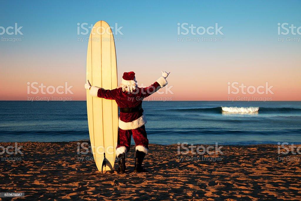 Santa An Weihnachten Urlaub In San Diego Strand Mit Surfbrett Stock ...