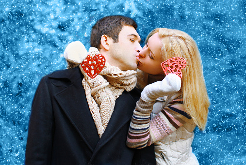 518335358 istock photo Christmas, valentines day, winter and people concept - happy pre 474959228