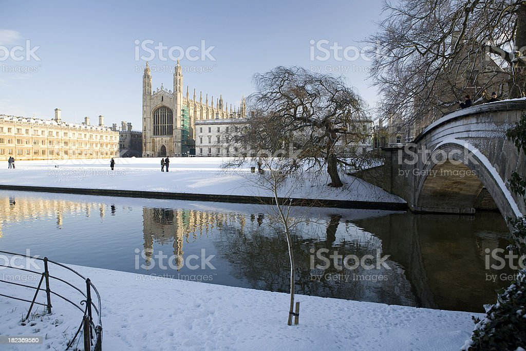 Christmas View Of Kings College Cambridge In Winter Snow Scene stock ...