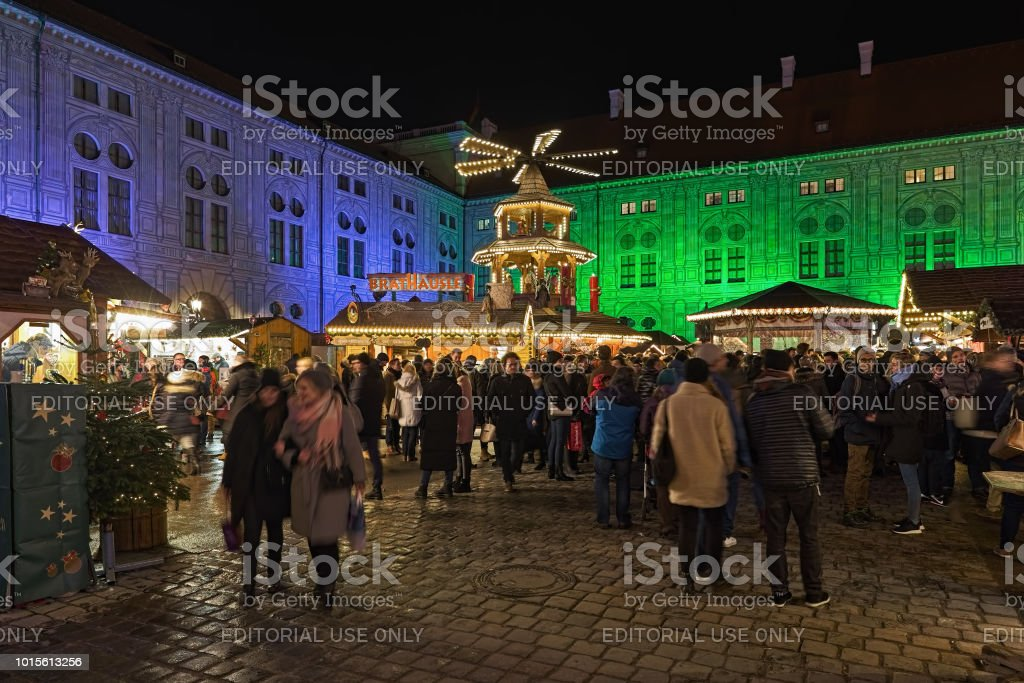 Christmas Village In Germany.Christmas Village At The Munich Residenz In Night Germany
