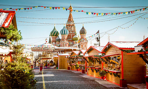 Christmas village fair on Red Square in Moscow stock photo