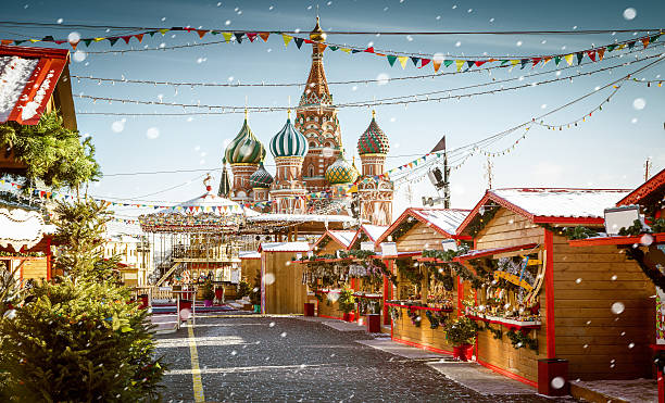 Christmas village fair on Red Square in Moscow, Russia – Foto