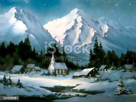 istock Christmas Village Scene Church Barns Artist Sherry Gribben 154308981