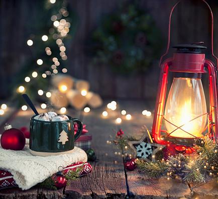 Christmas Vintage Lantern on Old Wood Background