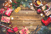istock Christmas vintage presents on a wooden background 858960350