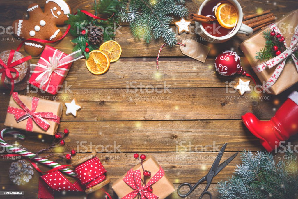 Christmas vintage presents on a wooden background stock photo
