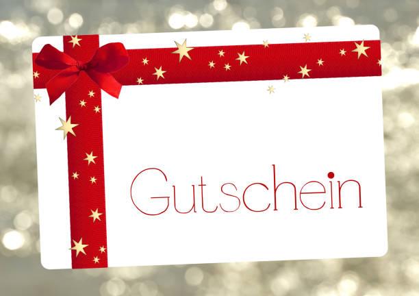weihnachten gutschein in deutscher sprache - gutschein weihnachten stock-fotos und bilder