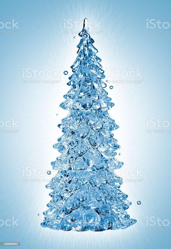 Christmas Water Tree On Blue Background Stock Photo - Download Image