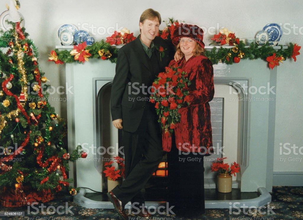 Christmas wedding husband and wife fireplace christmastree