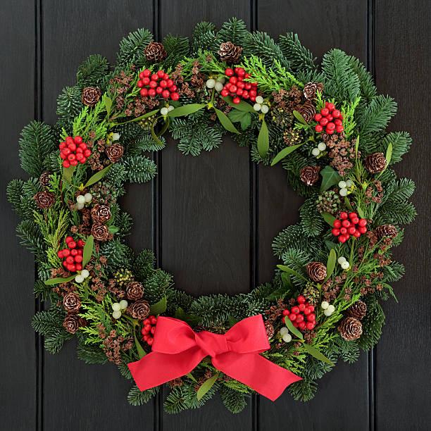 weihnachten willkommen. - türbänder stock-fotos und bilder