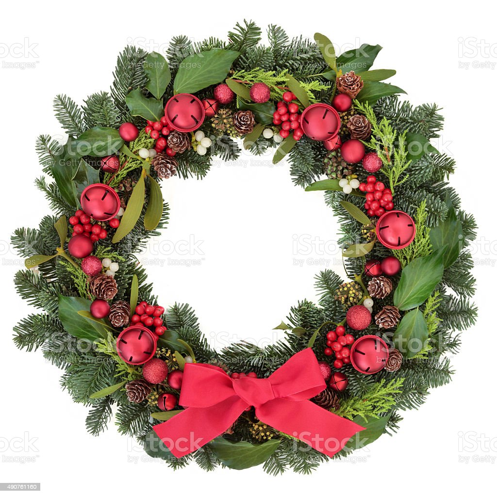 Christmas Welcome Wreath stock photo