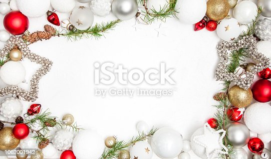 istock Christmas white wood background with christmas decoration 1062001942