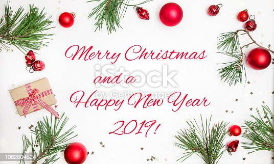 istock Christmas white wood background with christmas decoration 1062004524