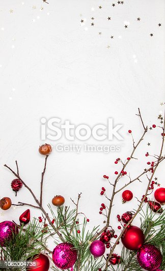 istock Christmas white wood background with christmas decoration 1062004738