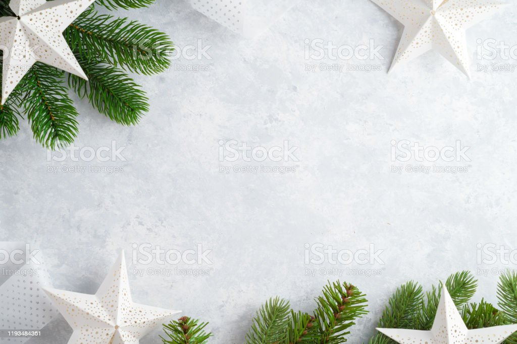 Christmas White Wooden Background Top View Template For New Year Space For Text Mockup For Advertising Congratulations Holiday Greeting Cards Design Stock Photo Download Image Now Istock