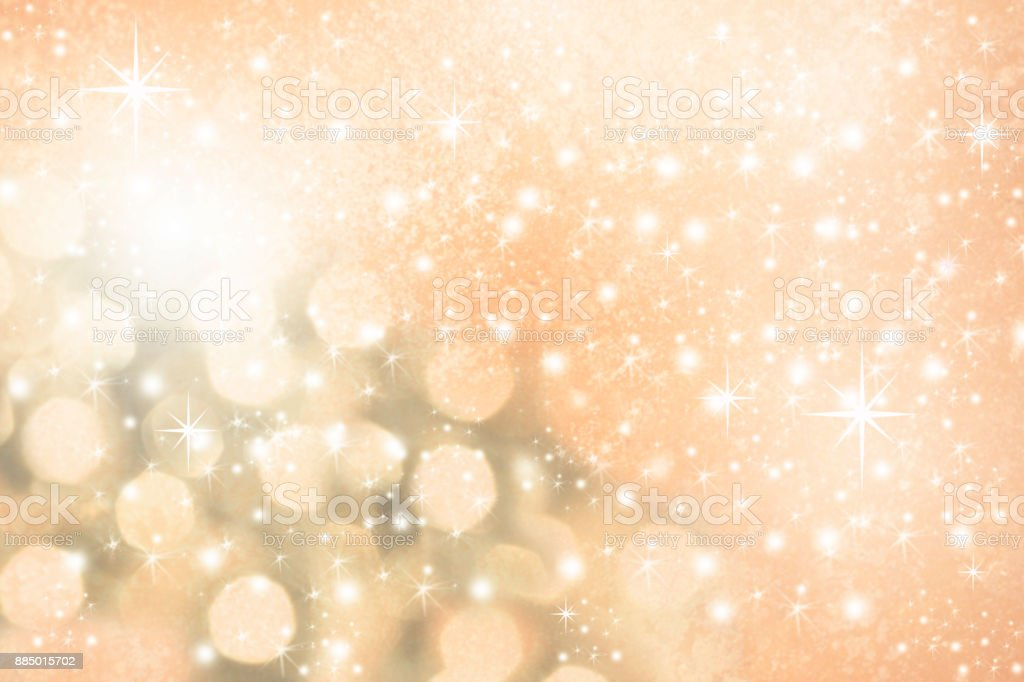 Christmas, Winter background of snowflakes, stars and beige holiday lights. stock photo