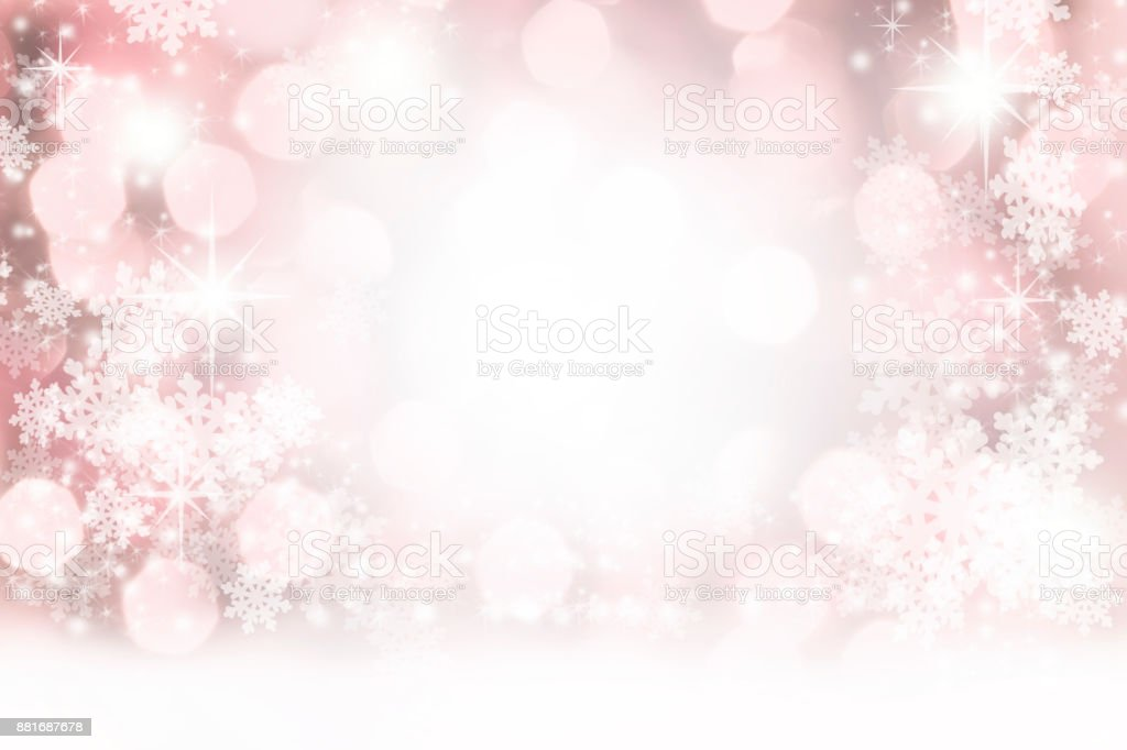 Christmas, Winter background of snowflakes, stars and holiday lights. stock photo