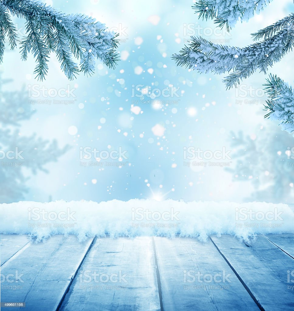 Winter Wallpaper: Christmas Winter Background With Snow And Blurred Bokeh