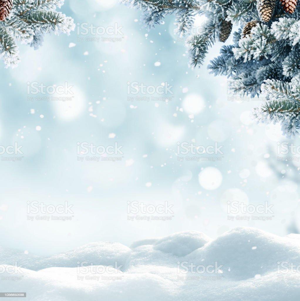 Jul vinter bakgrund med snö och suddig bokeh. God jul och gott nytt år Hälsningskort med kopia-utrymme. - Royaltyfri Barrväxter Bildbanksbilder