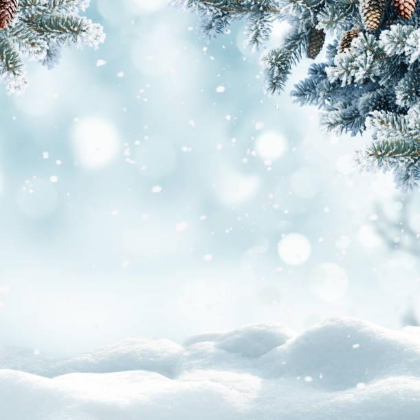 fondo de invierno de navidad con nieve y bokeh borrosa. feliz navidad y feliz año nuevo tarjeta de felicitación con copia espacio. - invierno fotografías e imágenes de stock