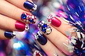 Christmas winter blue manicure .