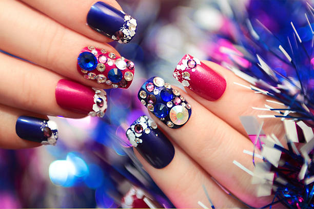 christmas winter blue manicure . - gelnägel stock-fotos und bilder