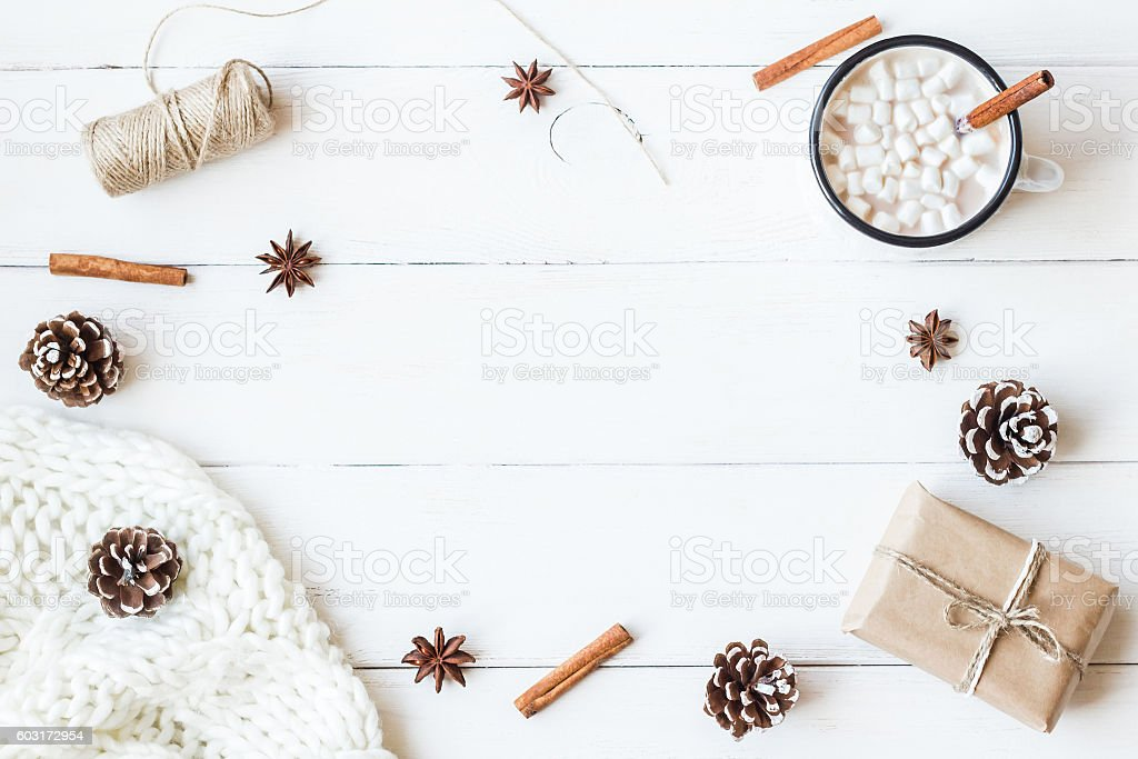 Christmas. Winter. Hot chocolate stock photo